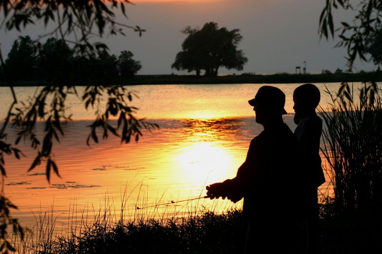 Father-and-son-fishing-at-dusk-18625553